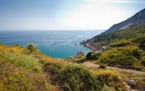 Обои Вид на океан: Вода, Природа, Океан, Скалы, Берег, Небо, Пейзаж, Растения, Вода и небо