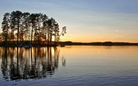 Обои Закат в Швеции: Вода, Закат, Небо, Швеция, Вода и небо