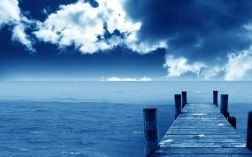 Обои Причал у океана: Облака, Причал, Океан, Синий, Горизонт, Вода и небо