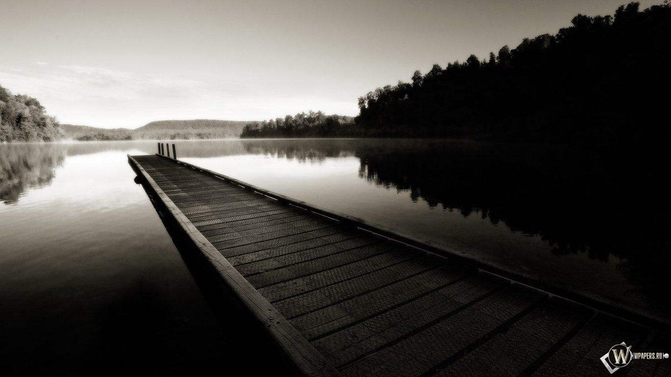 Деревянный мост 1366x768
