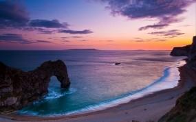 Обои Красивый закат: Вода, Природа, Океан, Берег, Небо, Вода и небо