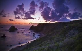 Обои Вечерний океан: Пляж, Океан, Закат, Вода и небо