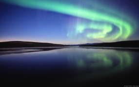 Обои Северное сияние: Ночь, Озеро, Небо, Вода и небо
