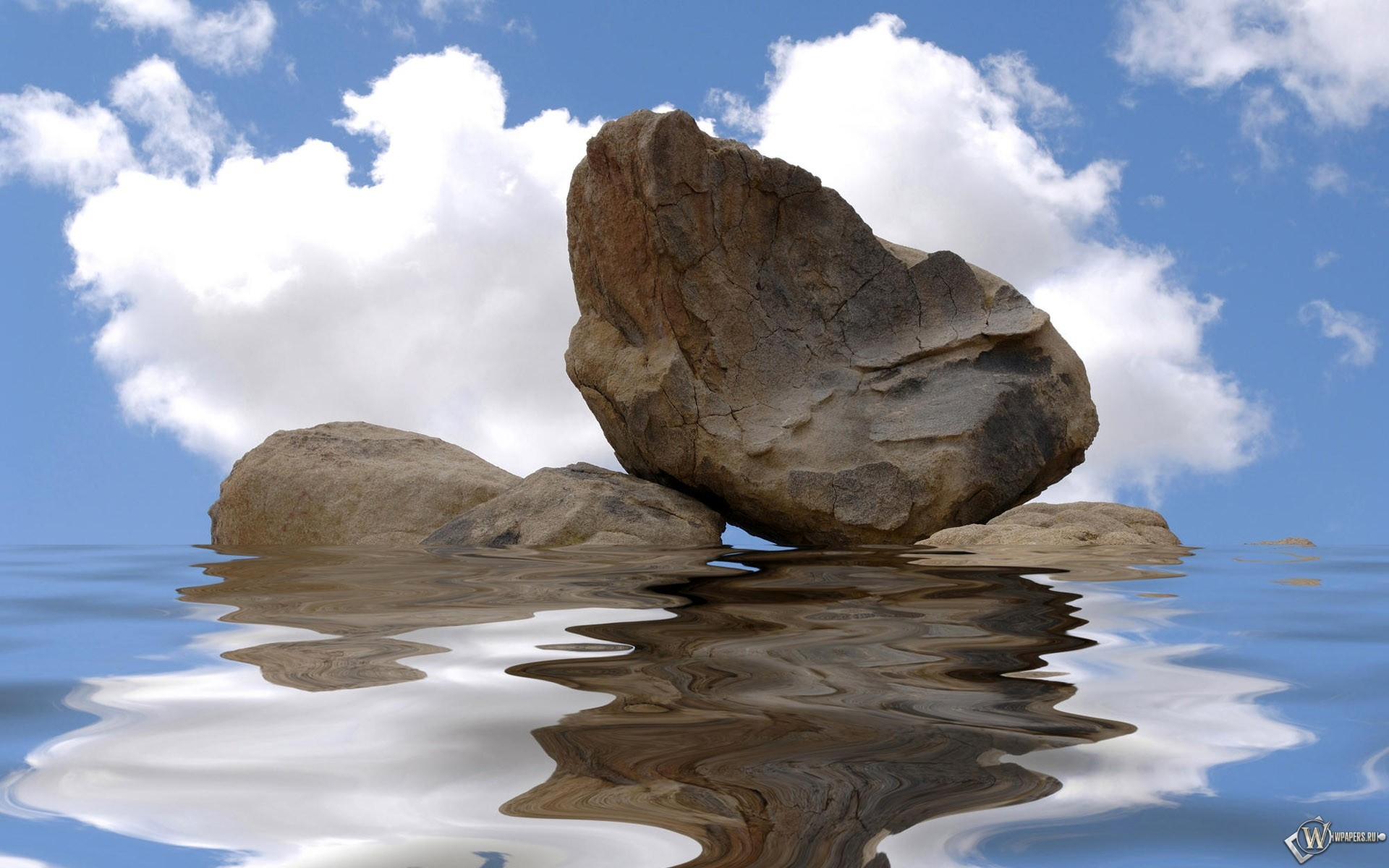 Камни в воде на фоне неба 1920x1200