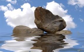 Обои Камни в воде на фоне неба: , Вода и небо