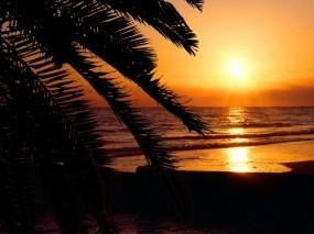 Обои Ночной пейзаж: Море, Ночь, Закат, Небо, Relax, Оранжевый, Вода и небо