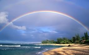 Обои Двойная радуга: Вода, Природа, Океан, Небо, Радуга, Воздух, Вода и небо