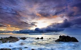 Обои Море португалии: Облака, Волны, Море, Закат, Скалы, Небо, Португалия, Вода и небо