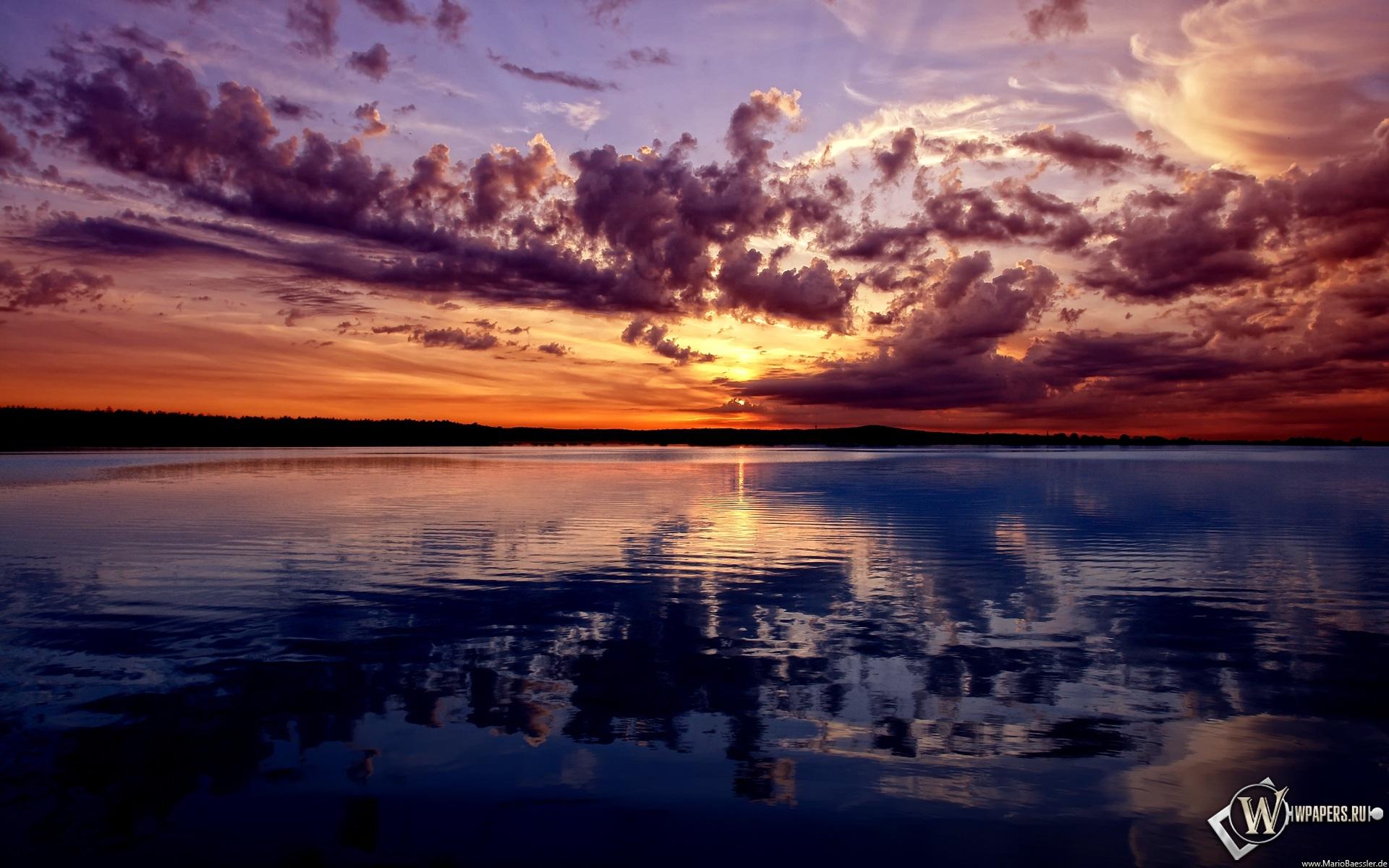 Закат над рекой 1920x1200