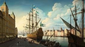 Обои Корабли в порту (Ольга Антоненко): Облака, Река, Рисунок, Парусник, Корабль, Корабли