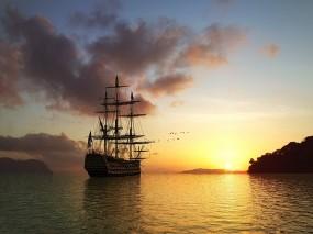 Обои Корабль на закате: Вода, Закат, Корабль, Корабли