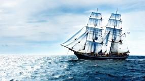 Обои Парусник в море: Облака, Море, Океан, Небо, Корабль, Корабли