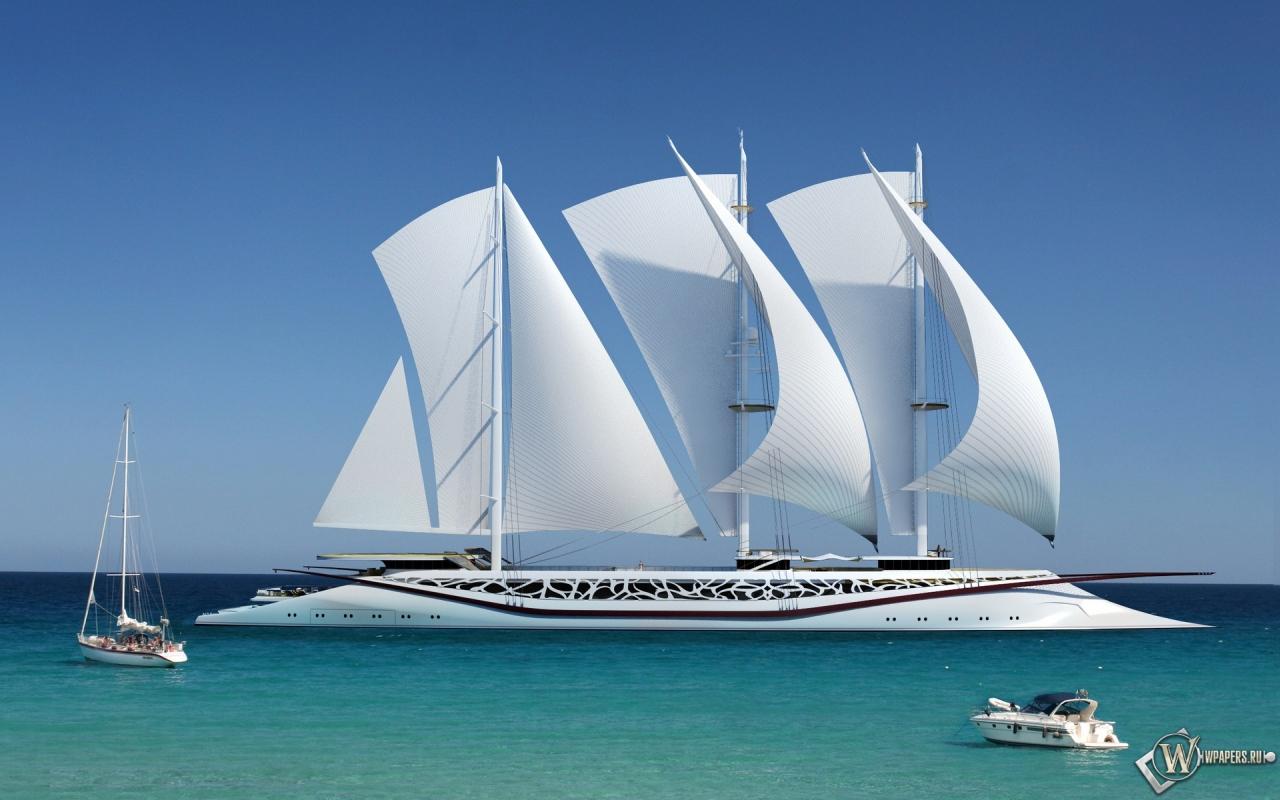 Шикарное парусное судно 1280x800