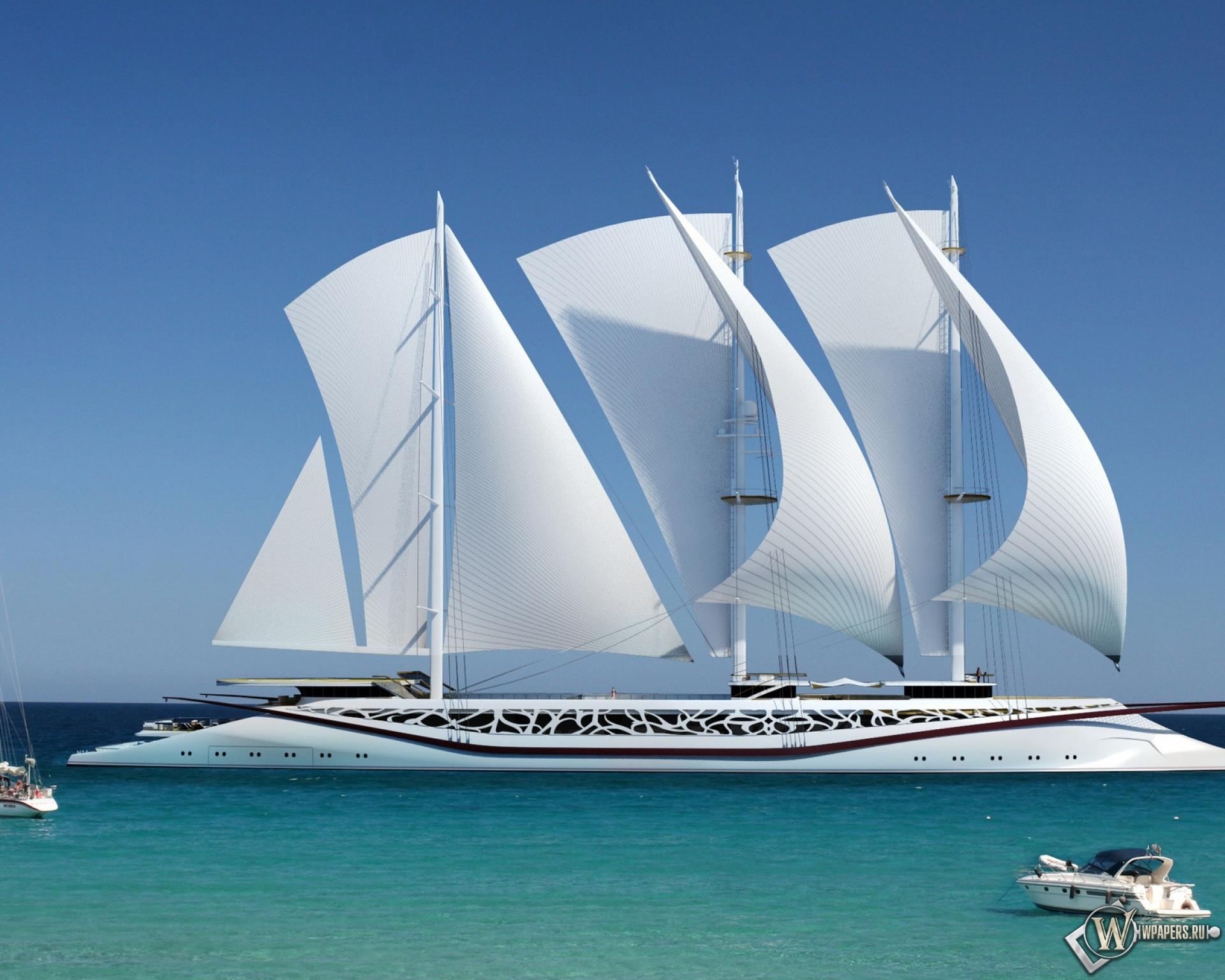 Шикарное парусное судно 1920x1536