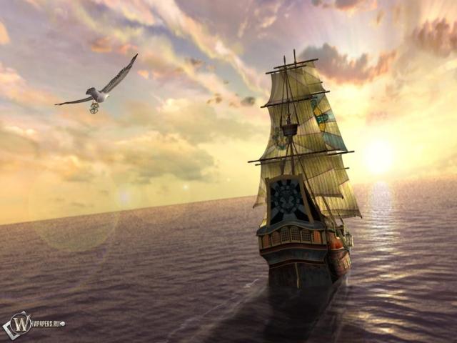 Корабль - уходящий в море