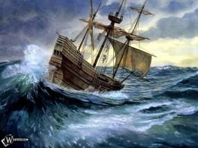 Обои Корабль - попавший в шторм: , Корабли