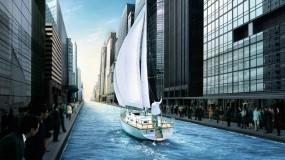 Обои Яхта в городе: Город, Яхта, Корабли